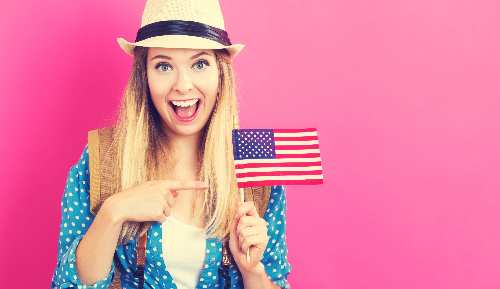 Girl with US Flag